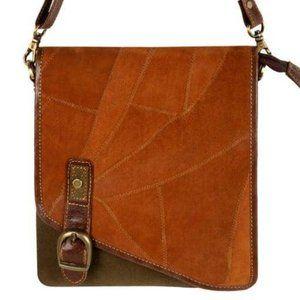 Upcycled Genuine Leather Buckle Crossbody Bag